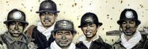 Coal Miners - one of many meticulous Chinese paintings by Du Yuxi