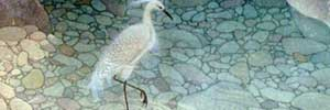 Egret in Limpid Pond - one of many meticulous Chinese paintings by Du Yuxi