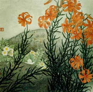 Chinese Painting: Vermilion Morning Star Lillies