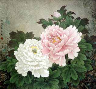 Chinese Painting: Peonies in Spring
